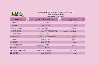 PRONOSTIC TOTOFOOT 12 Fin-SEMAINE N° 586FS