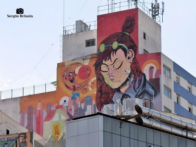 Vista ampla do Mural Grafite Crisálida - Consolação - São Paulo