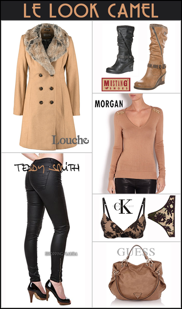 Look camel en manteau LOUCHE, pull MORGAN, jean TEDDY SMITH, bottes MUSTANG, sac GUESS et sous-vêtements CALVIN KLEIN