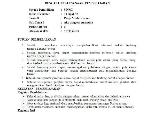 RPP K13 1 Lembar Kelas 3 SD/MI Semester 2