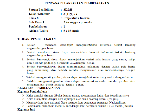RPP 1 Lembar Kelas 3 SD/MI Tema 7: Perkembangan Tekhnologi