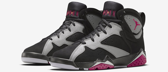 best service 7a764 26365 This Girls Air Jordan 7 Retro GG comes in a black, sport fuchsia, cool grey  and wolf grey colorway. Featuring a black and grey based nubuck upper with  ...