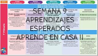 Semana 9 Aprendizajes Esperados Aprende en Casa II