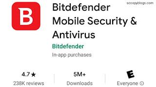 Bitdefender Antivirus Ratings on google Play store