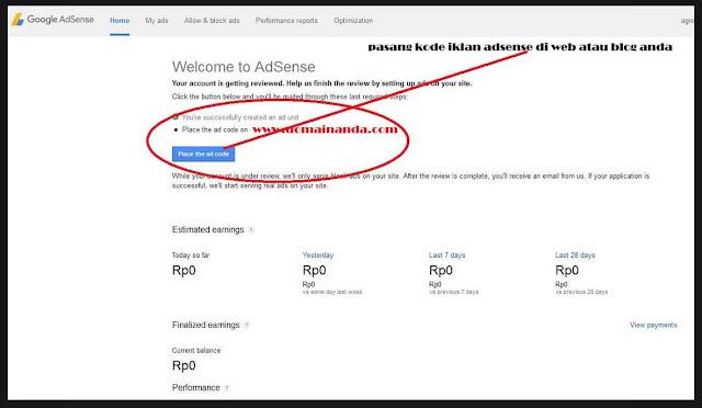 Cara Mudah 2 hari daftar google adsense langsung cepat di terima