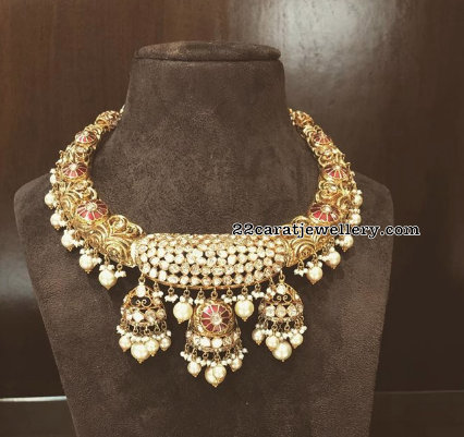 Three Jhumka Attached Floral Choker