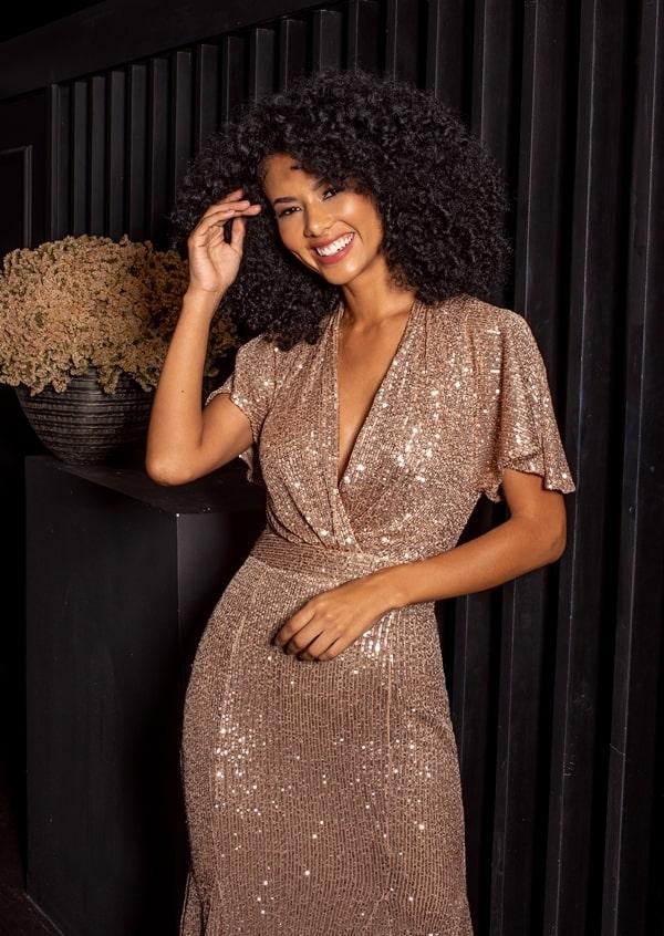 vestido de festa curto dourado de micro paetes