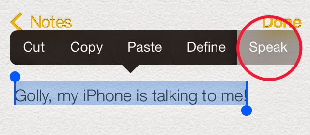 Make your iPhone speak selected text