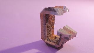 how to make dollar 3d origami alphabet G instructions hướng dẫn cách gấp chữ G bằng tiền giấy
