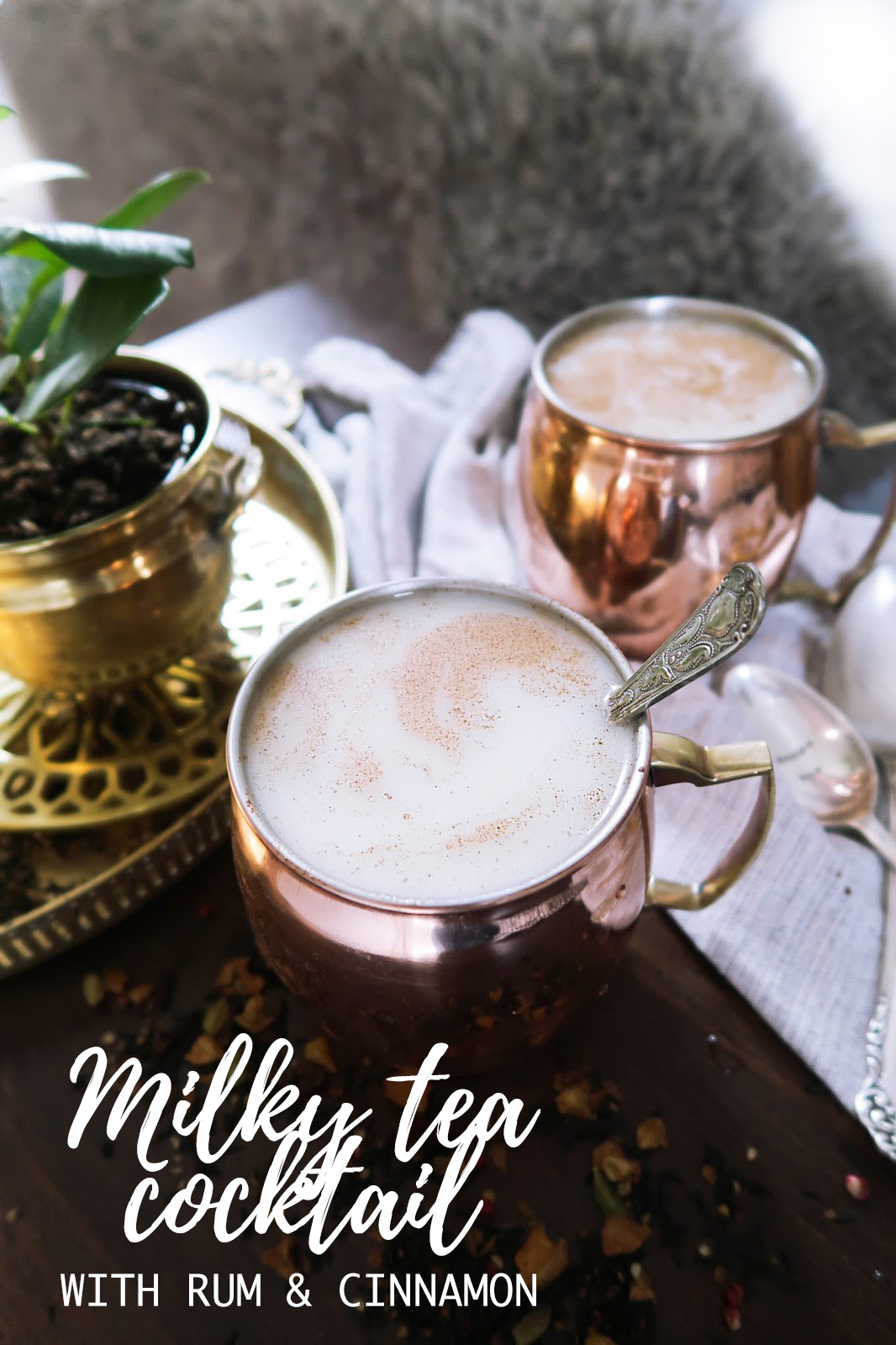 Milky tea cocktail with rum & cinnamon