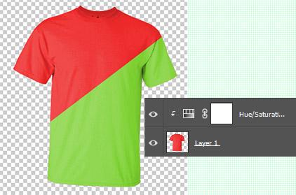 Hasil akhir mengubah warna kaos dengan Photoshop