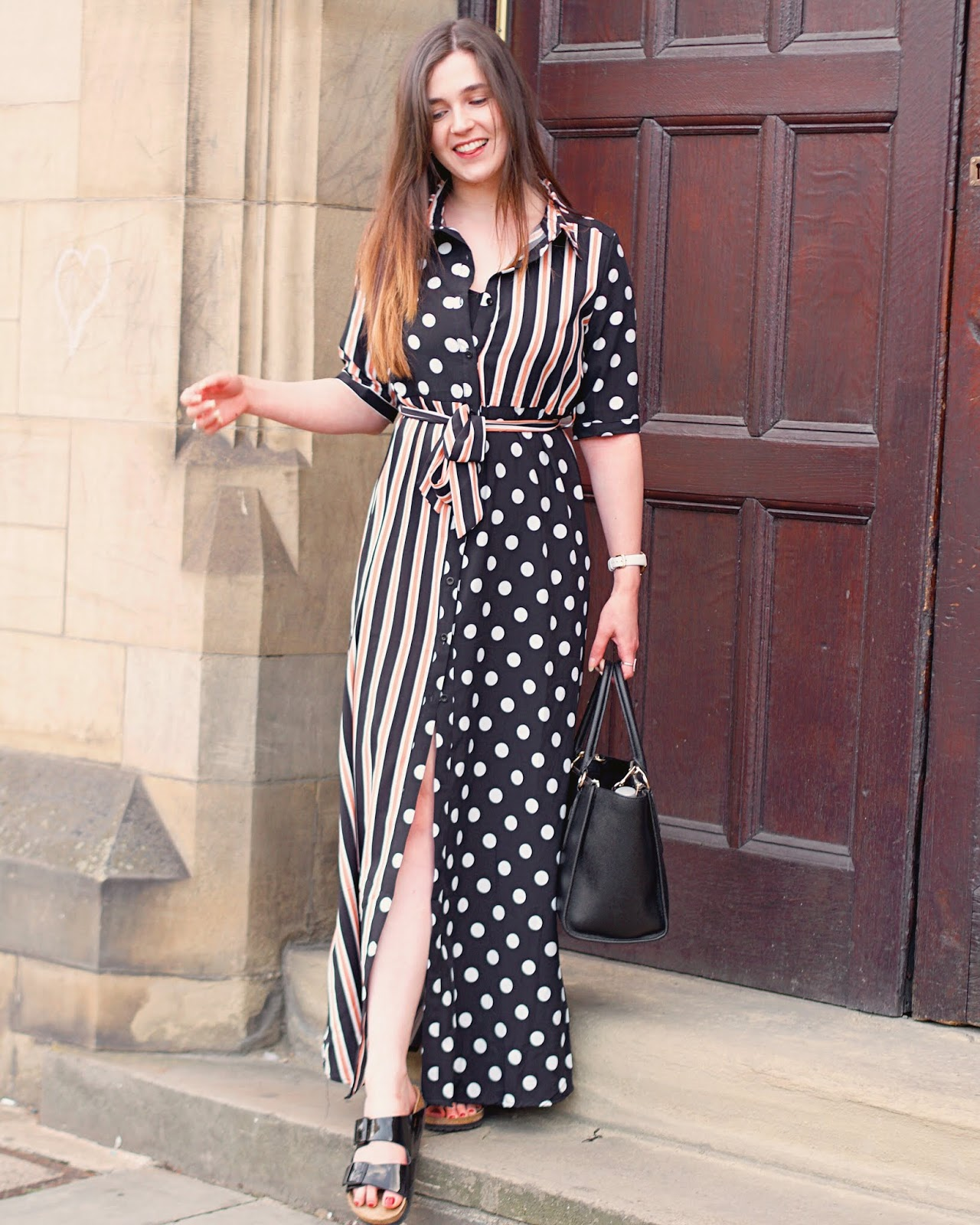 spot and stripe maxi dress