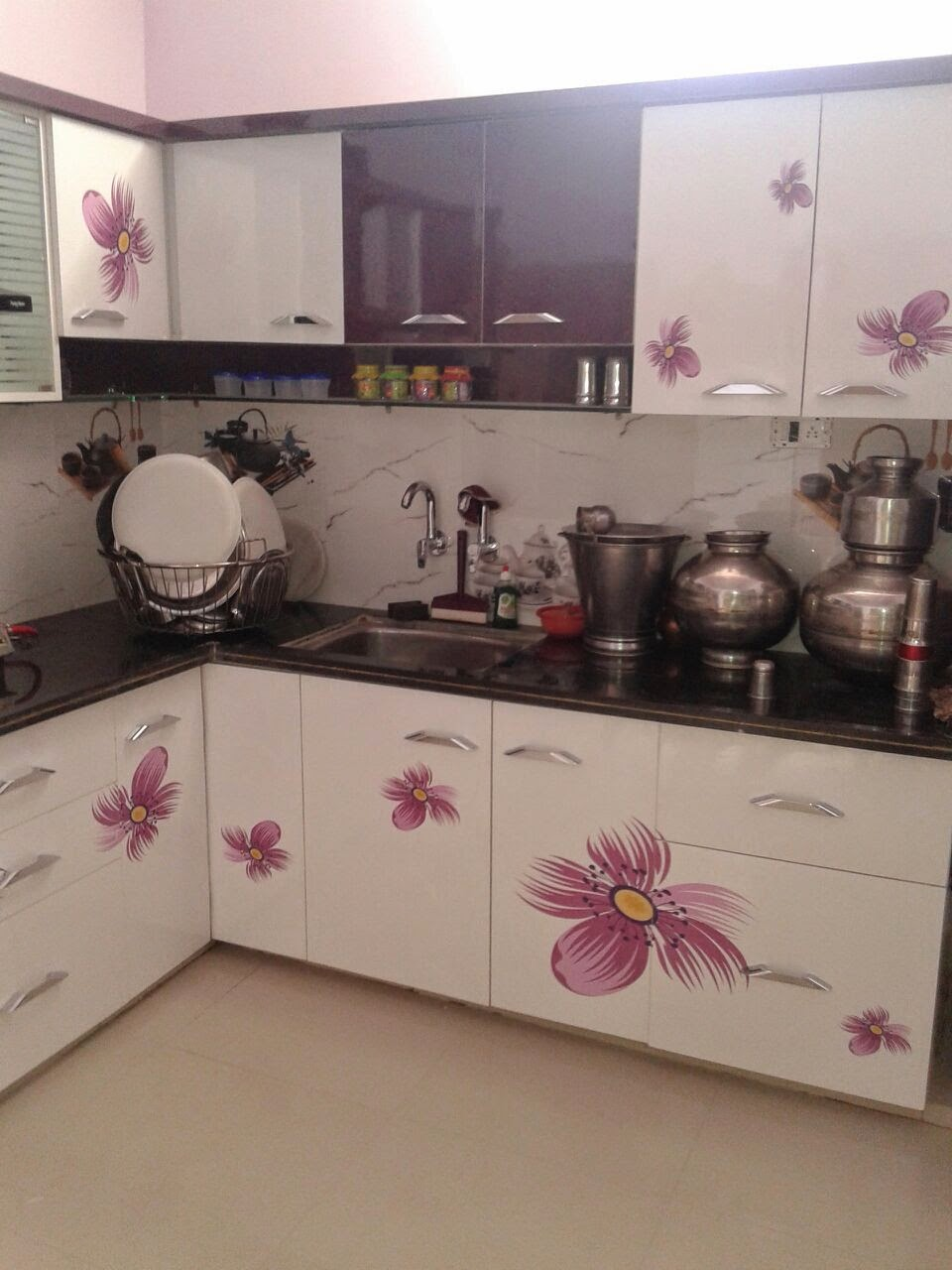 Black White And Purple Kitchen