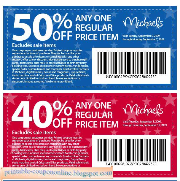 Coupons for michaels craft store printable
