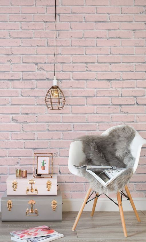 Pink Brick Wallpaper Mural