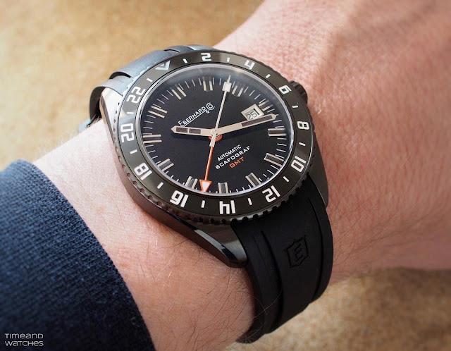 Eberhard Scafograf GMT Black Sheep wristshot
