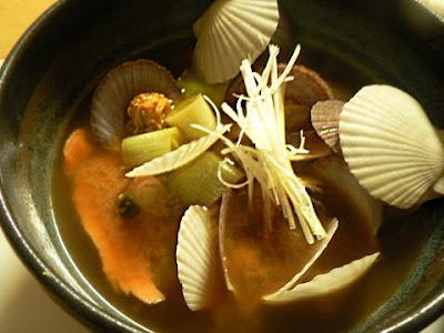 ホタテ稚貝の味噌汁