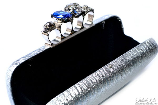 Skull Rings Solid Silver Clutch Evening Bag
