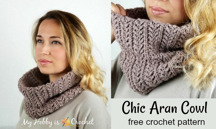 Chic Aran Cowl - Free Crochet Pattern on myhobbyiscrochet.com