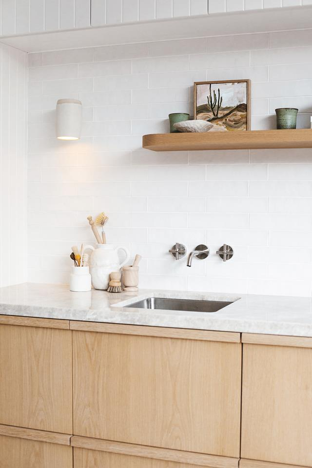 Oak and marble kitchenette
