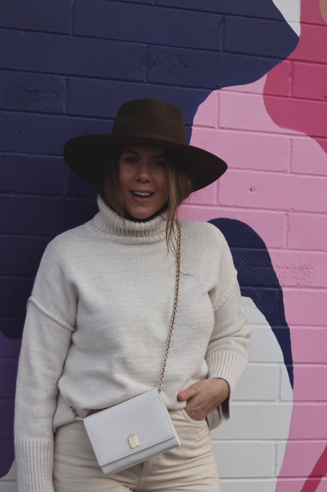 all winter white outfit lack of color rancher hat blogger furla bag