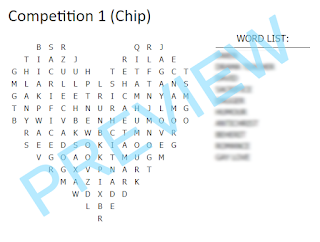 """Heart shaped word search with 10 words in the word list and the word """"Preview"""" over the top."""