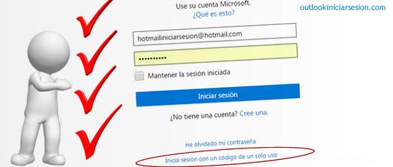 Outlook.com con el código de un solo uso en outlook iniciar sesion