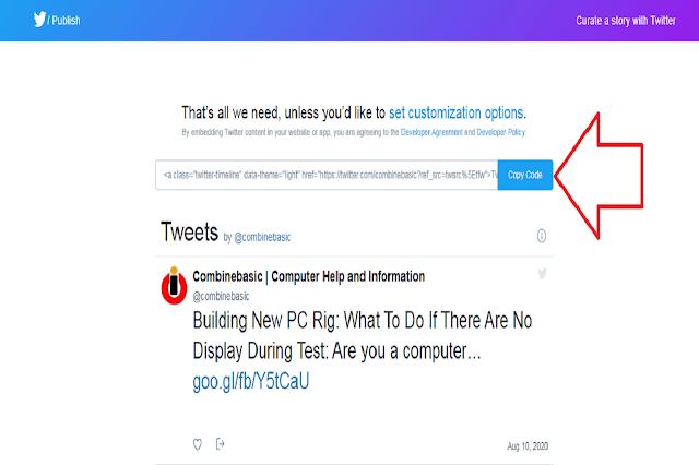 Twitter Widget Publish Interface