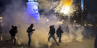 Affrontements entre manifestants et policiers.