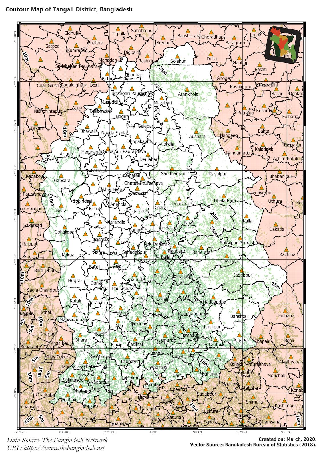 Elevation Map of Tangail District of Bangladesh
