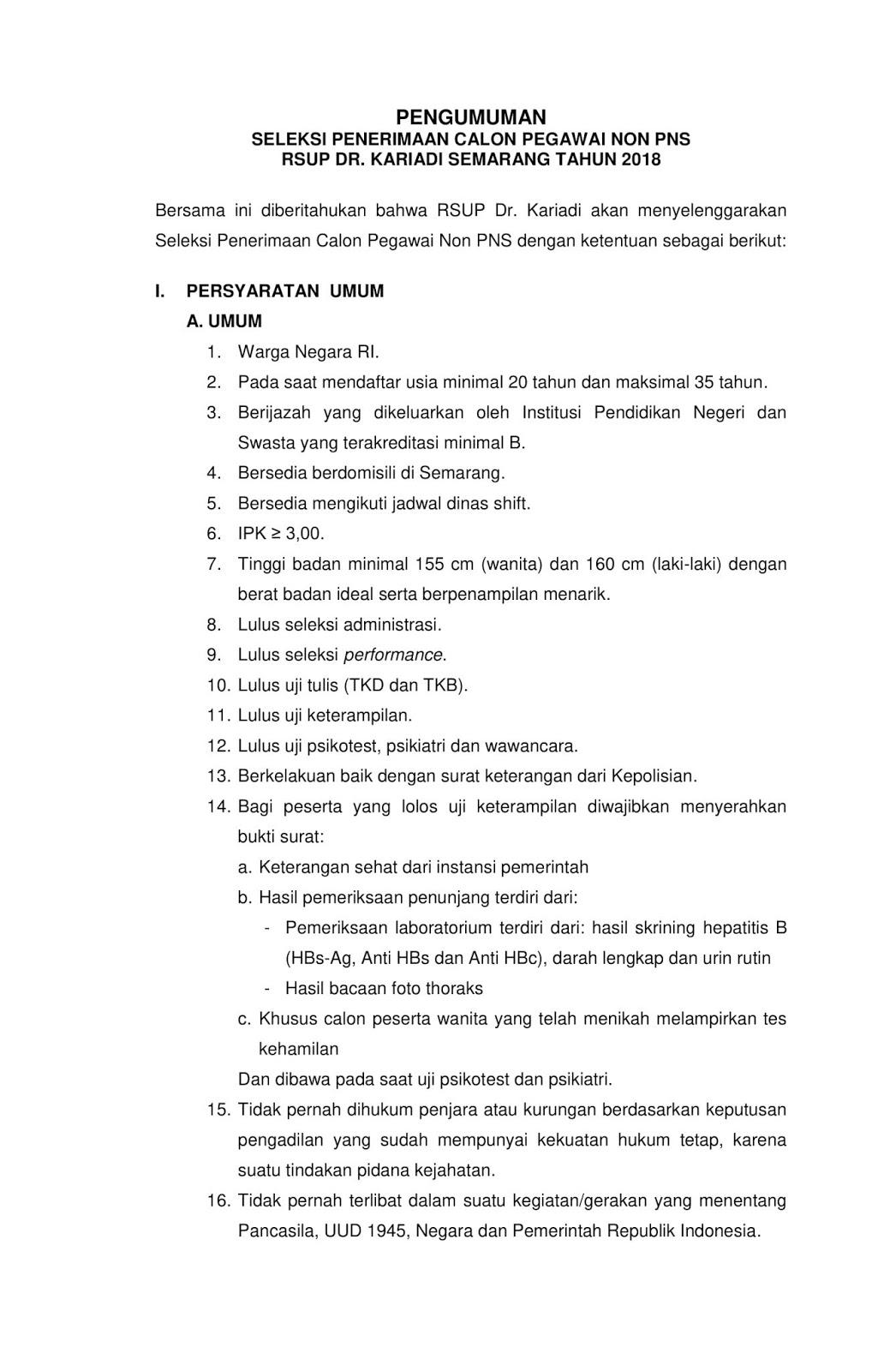 Lowongan Kerja   Non PNS RSUP Dr Kariadi [100 Formasi]  Agustus 2018