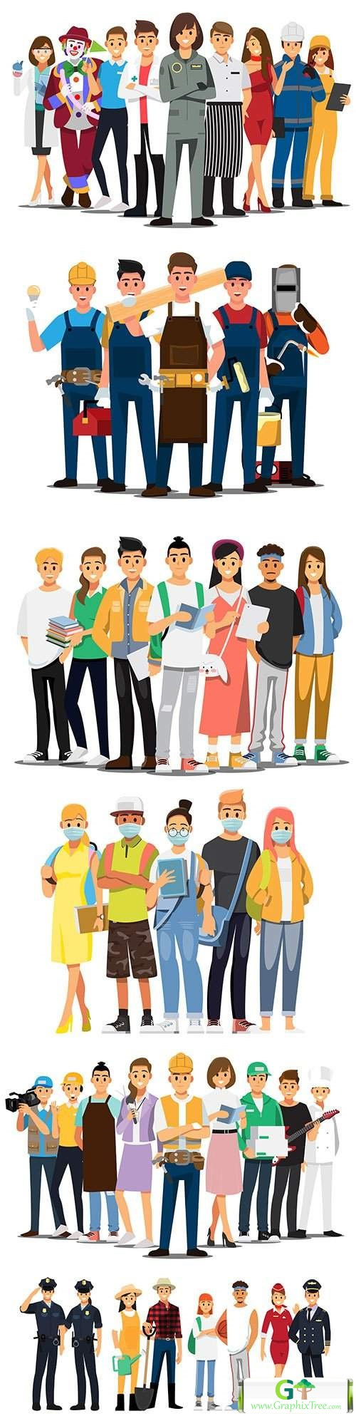 People of different professions and lifestyle flat design 9