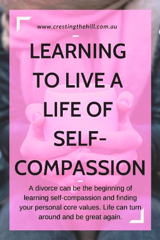 A divorce can be the beginning of learning self-compassion and finding your personal core values. Life can turn around and be great again. #midlifesymphony