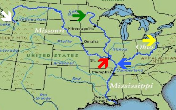 mississippi and ohio river meet map