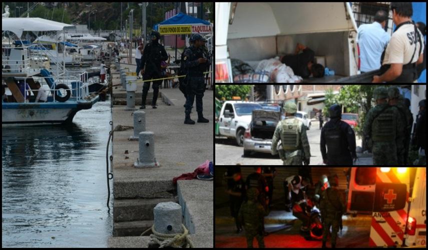 Policías se llevan ejecutados, tapan la sangre y alteran escena que deja ataque de sicarios, para ocultar la violencia en Acapulco.