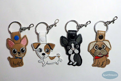 Chihuahua, Jack Russell, Boston Terrier, Pug Dog Breed Key Fobs