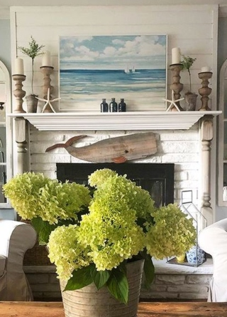 Nautical Fireplace with Whale Cutout