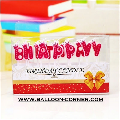 Lilin Ultah Motif HAPPY BIRTHDAY Warna Pink (Mahkota)