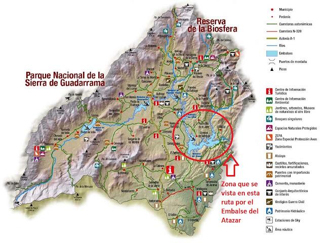 mapa sierra norte madrid emblase del atazar