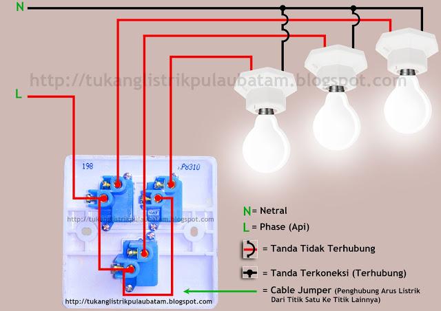 Wiring diagram (skema rangkaian) saklar 3 gang atau triple switch
