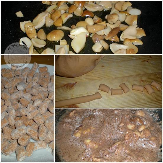 Gnocchetti di zucca con porcini e crema di radicchio