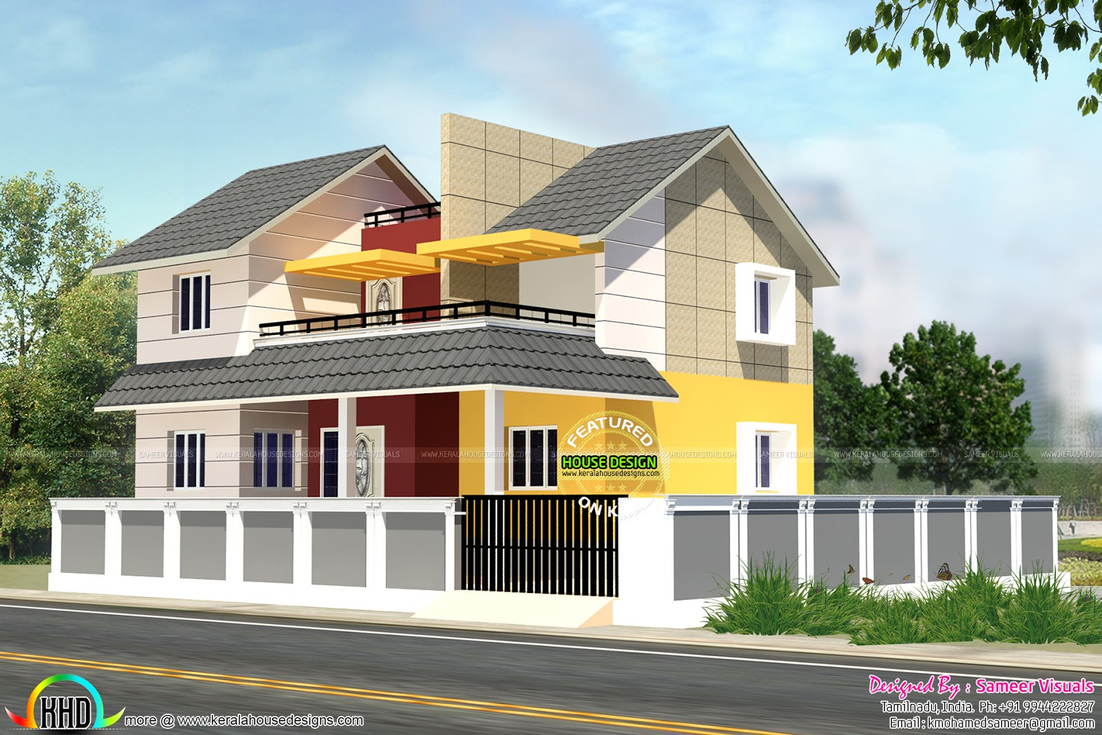 1949 Sq Ft Sount Indian Modern House Kerala Home Design And Floor Plans