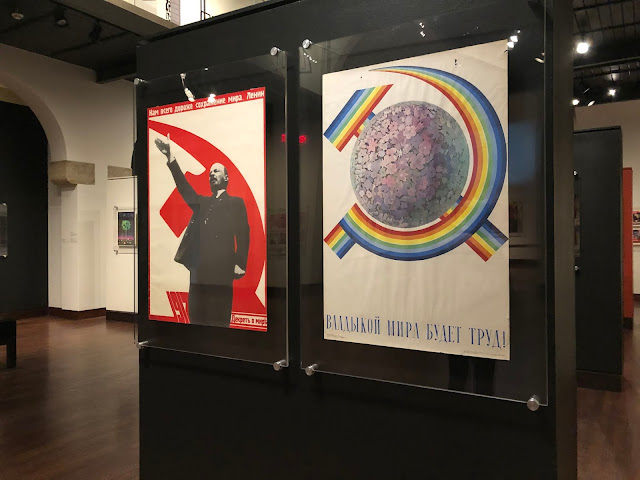 Stern messaging on Soviet propaganda posters at The Museum of Russian Art in Minneapolis