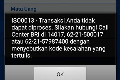Kode Kesalahan ISO0013 Bank BRI