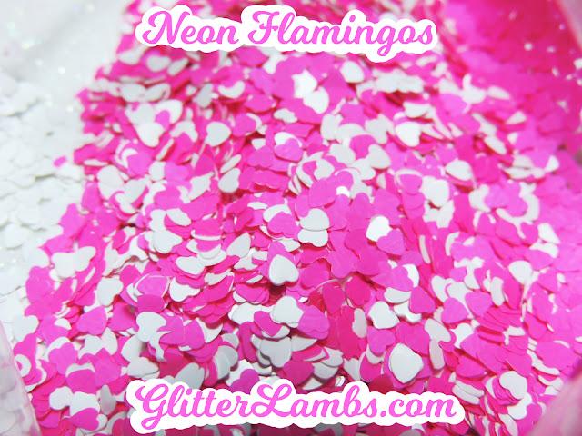 "Glitter Lambs ""Neon Flamingos"" Loose Glitter Mix Craft Glitter Nail Art Glitter White Hearts Neon Hot Pink Hearts Glitter"