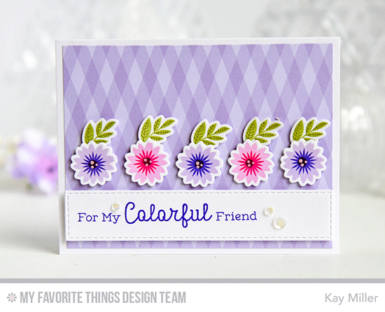 Colorful Friends Card by Kay Miller featuring Rainbow Greetings stamp set, Mini Modern Blooms stamp set and Die-namics, Vertical Strips Die-namics #mftstamps