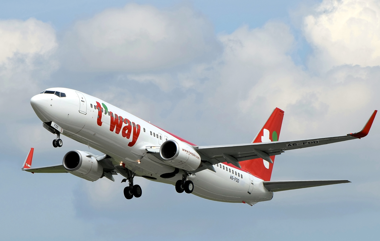 T'Way Air Boeing 737-800 Climbing After Takeoff