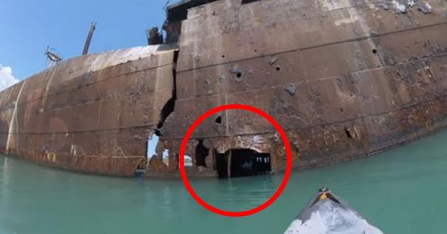 #หนุ่มพายเรือไปเห็น ซากเรือร้างขนาดยักษ์ พอพบช่องเล็กๆเลยเข้าไปดู ขยี่ตารัวๆเมื่อเห็นภาพตรงหน้า..!!!
