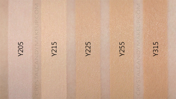 Make Up For Ever Matte Velvet Skin Foundation Swatches Y205 Y215 Y225 Y255 Y315 MAC NW10 NC15 NC25 NC35