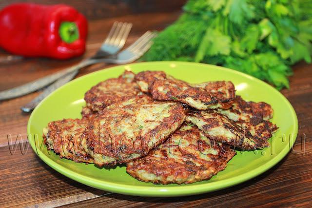рецепт кабачковых оладий с шампиньонами и зеленью